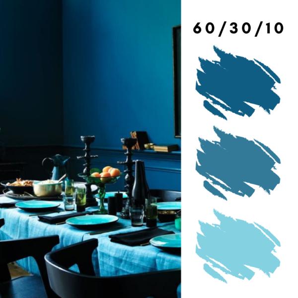 Blue Monochromatic Design  Using 60-30-10 Rule