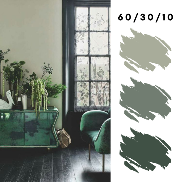 Green Monochromatic Design  Using 60-30-10 Rule